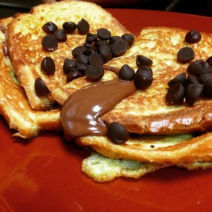 breakfast nutella stuffed french toast
